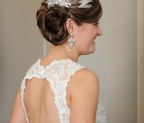 Beautiful Bridal Updo Accented with Rhinestone Headpiece