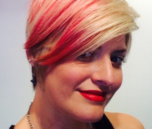 Blonde Pixie with Red Lowlights