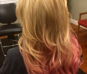 Blonde with a Touch of Pink Ombre