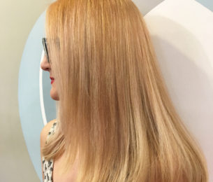 Brught Blonde with Pastel Peach Lowlights