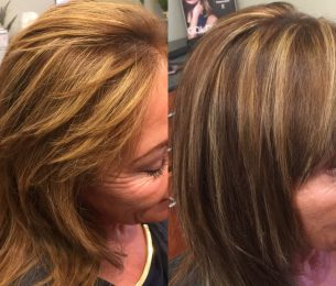 Makeover to Golden Highlights with a Rich Brunnette Base